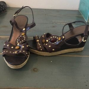 Brown jeweled wedges